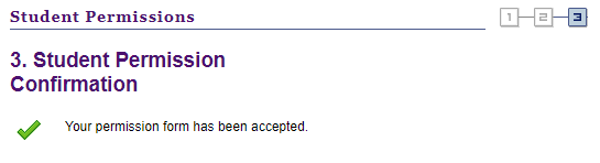 Student Permissions Confirmation Page