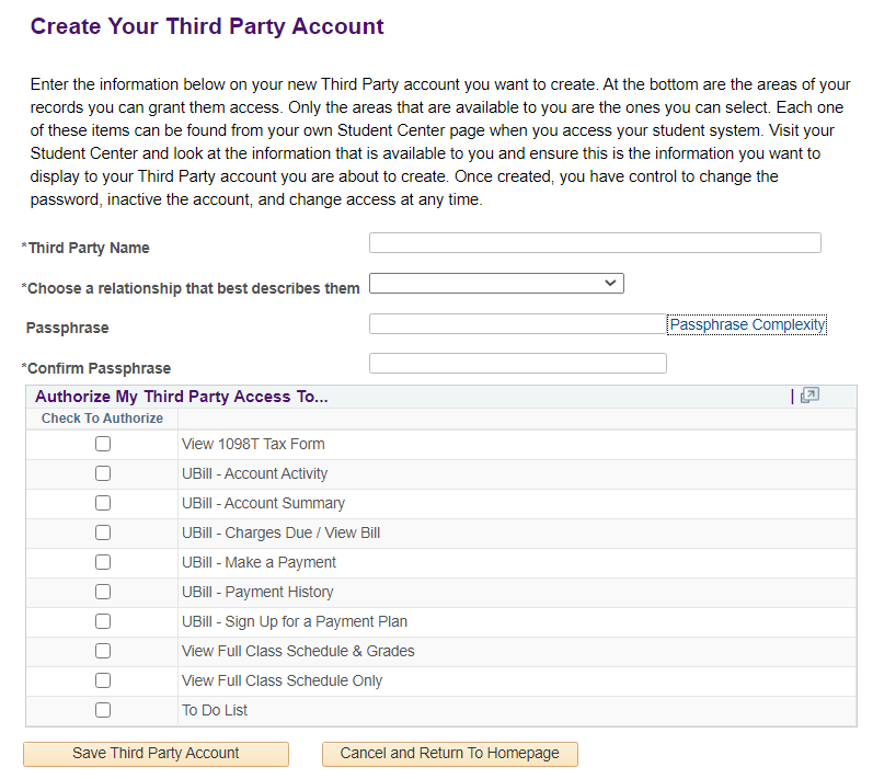 Create Your Third Party Account