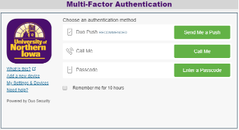 Duo Authentication Screen