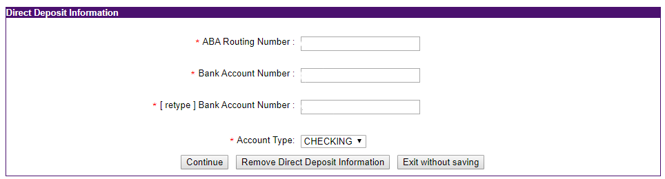 Enter bank information