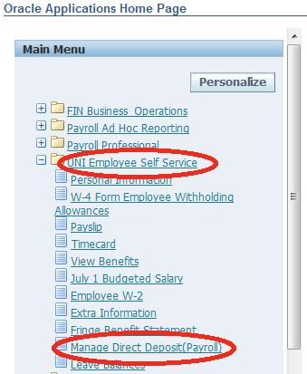 Self Service/Manage Direct Deposit
