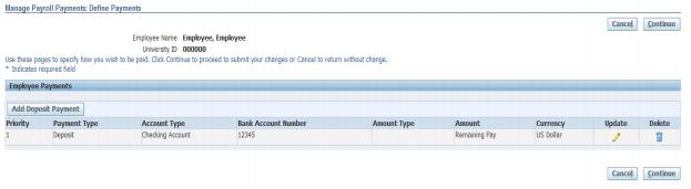 Updating Direct Deposit