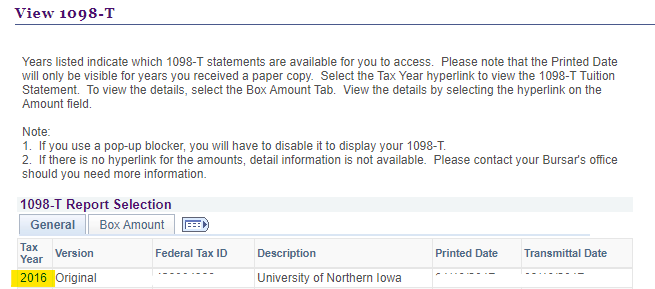 Select the tax year to open the form
