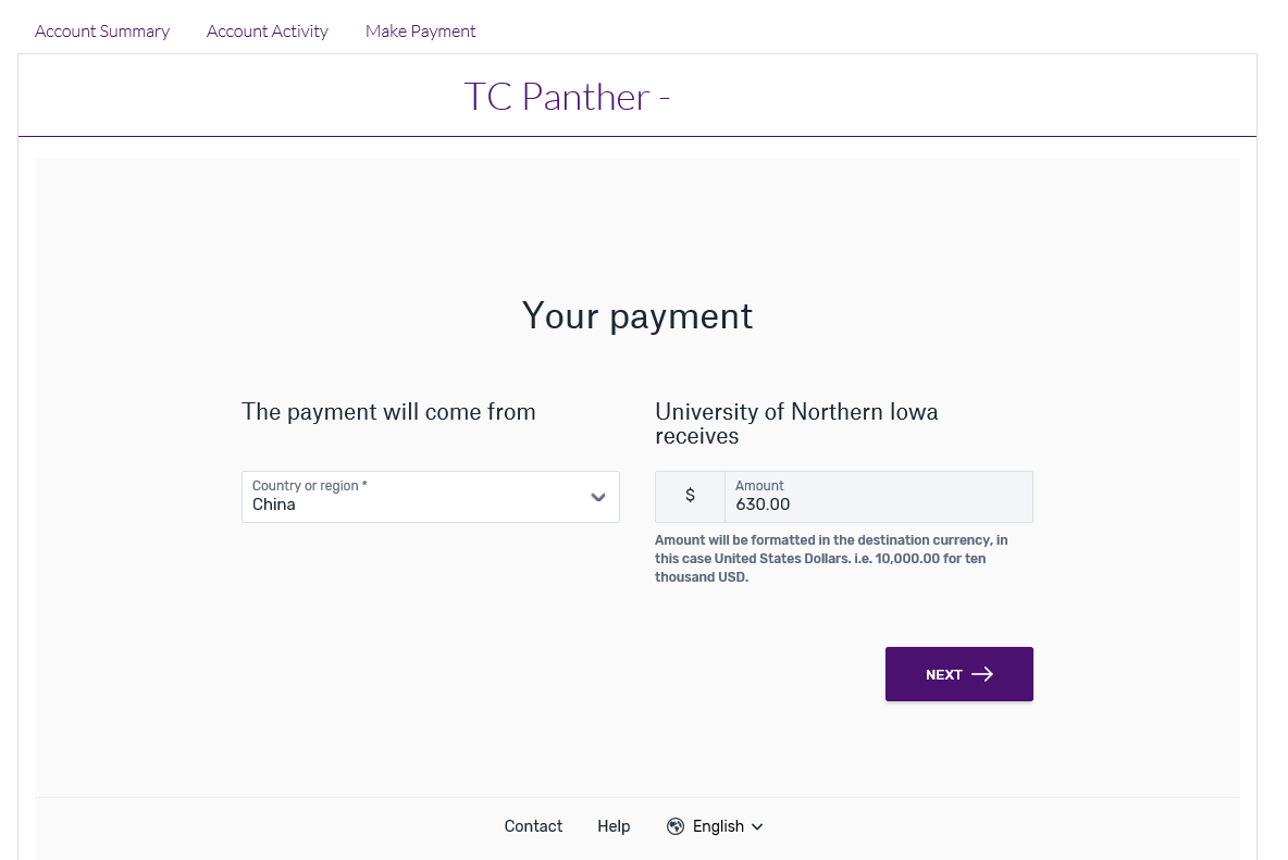 Choose payment country